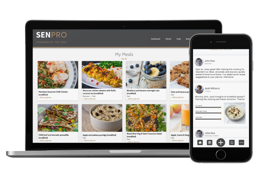 SENPRO app on iPhone and Macbook